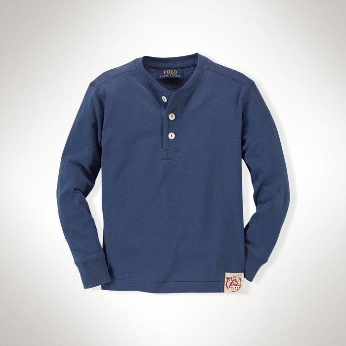 全新美國Polo Ralph Lauren 藍色亨利領長袖上衣 大童M