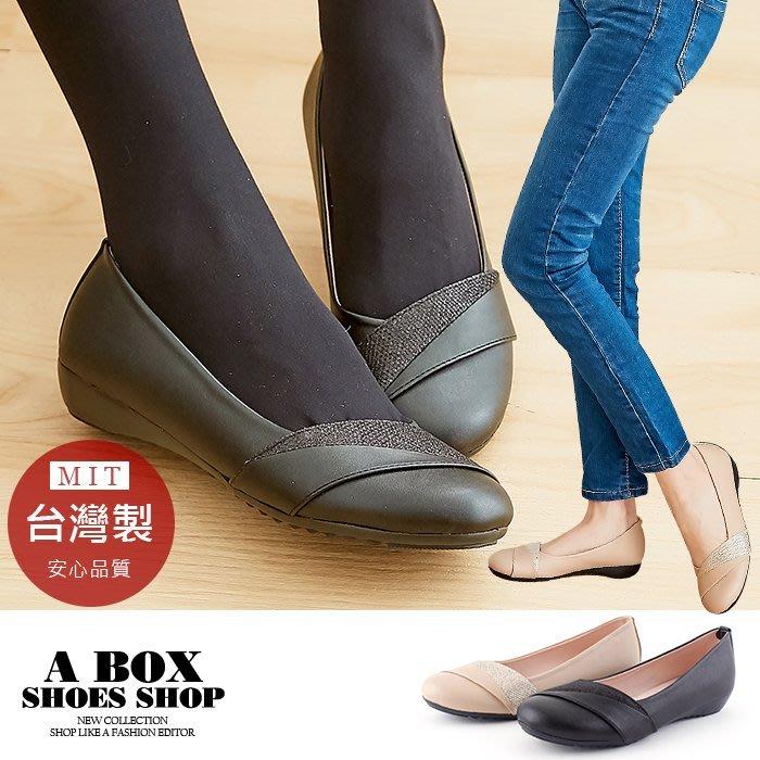 格子舖*【AN357】2.5CM低粗跟圓頭包鞋 娃娃鞋 低跟鞋 皮革材質 MIT台灣製 2色
