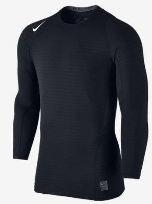 【NIKE】~ NIKE PRO 長袖緊身衣  緊身上衣 內刷毛 保暖  緊身圓領衫 826596-010 黑 S號