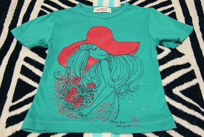真品edwin副牌5th STREET女孩玫瑰花朵水鑽藍綠色女童裝短袖上衣T恤(4/ 100) 台北市