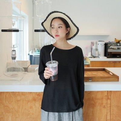 Bellee  正韓   慵懶感大圓領棉混紡長版上衣  (3色)  【SB90206】預購