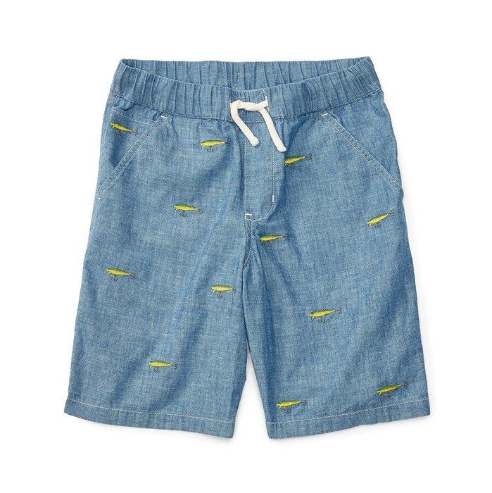 美國百分百【全新真品】Ralph Lauren 牛津短褲 休閒褲 褲子 Polo RL 滿版繡圖 藍色 S號 I158
