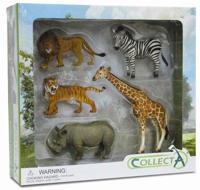 【阿LIN】89534A 野生動物禮盒 5PCS COLLECTA 動物 老虎 獅子 河馬 長頸鹿 斑馬 動物園