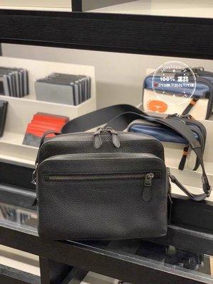 折扣款 全新正品 COACH 91484 WEST CAMERA BAG 黑色全皮款 男生款相機包 郵差包 記者包