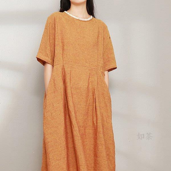 【如茶】簡約色織亞麻花邊寬鬆五分袖套頭長款連衣裙