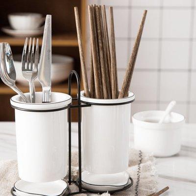 簡約 餐具陶瓷瀝水架 餐具架 收納架 陶瓷筷子筒 餐具筒 瀝水架 收納 廚房用品【RS1043】