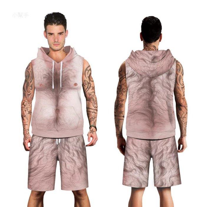 歐美潮牌胸毛數碼印花連帽無袖大碼運動服跑步鍛煉透氣吸汗套裝#優品小鋪#