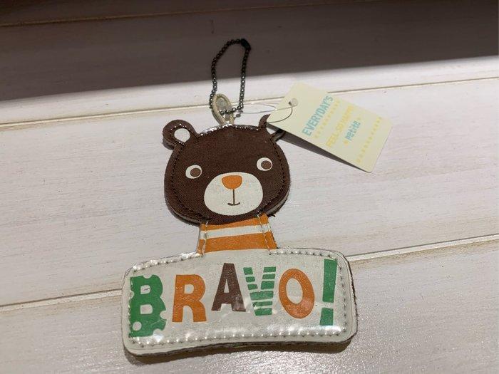 *黑頭小羊雜貨小舖*日本帶回zakka~棕色熊熊布質名牌吊飾/可書寫名牌掛飾/熊熊掛飾