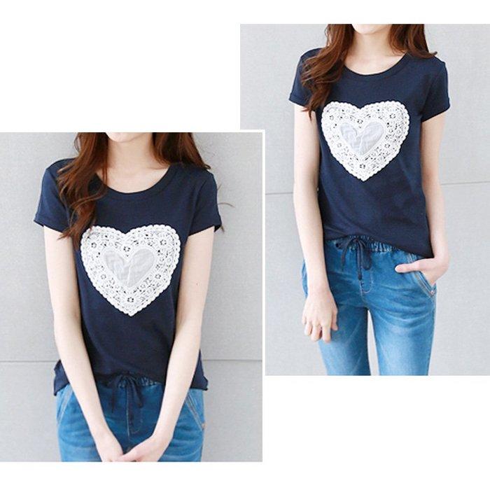 【Hao Da】全館399免運↘「M~XL。現貨」蕾絲愛心 棉質上衣 (C1183)