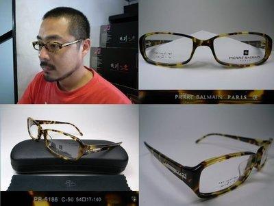 【信義計劃眼鏡】PIERRE BALMAIN 法國 PB 6186 玳瑁色膠框方框 金屬條Logo 搭配領帶T恤外套