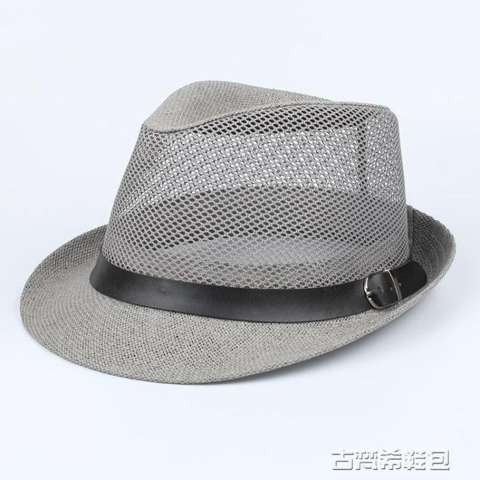 中老年夏季帽子男士禮帽爵士帽爸爸夏天遮陽帽透氣草涼帽老人網帽