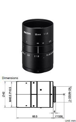 "Ricoh FL-BC3518-9M 9MP 1"" 35mm f1.8"