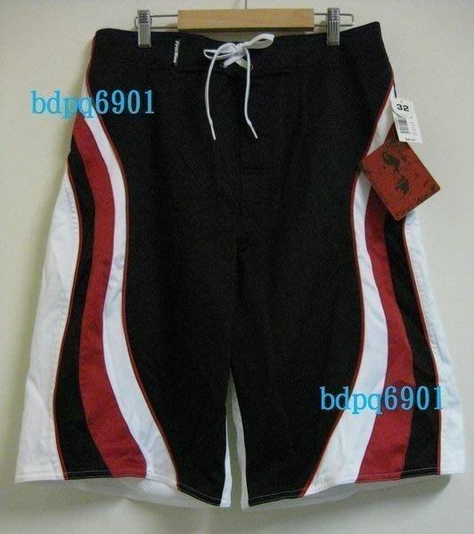 [KOIES] 一元起標無底價 美國品牌 FIRST WAVE 衝浪褲 海灘泳褲 休閒褲 紅黑白34腰 墾丁 NBA