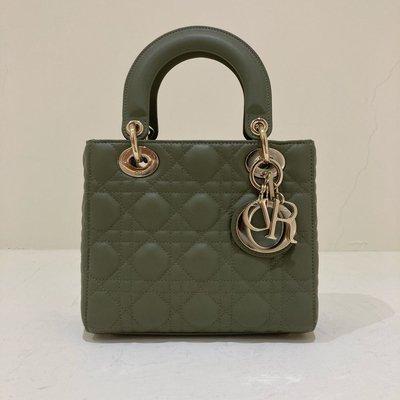 Christian Dior Lady Dior 黛妃包 小款 軍綠色《精品女王全新&二手》