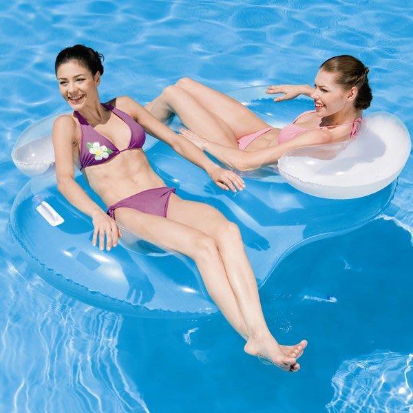 5Cgo【批發】含稅會員有優惠 45025673361 Bestway成人遊泳圈加大雙人靠背浮排充氣浮床水上漂流船充氣座