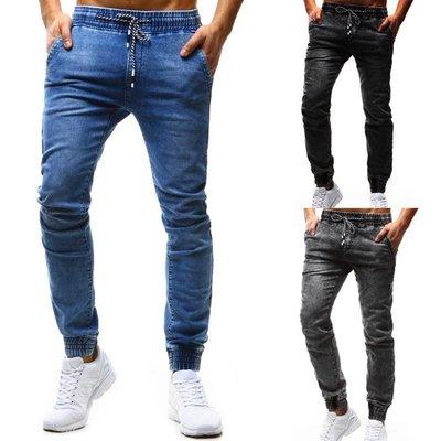 『潮范』 WS12 新款經典寬鬆系繩鬆緊牛仔長褲 男士休閒長褲 小腳褲 牛仔褲NRG3042