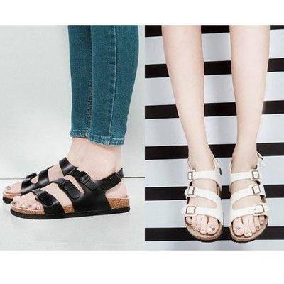 【Q比花園】超流行 勃肯鞋.軟木底銅扣涼鞋 兩扣&三扣 多種顏色 穿搭必備 (35-43)