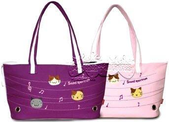 DOBAZ刺繡布貼 可愛動物寶貝 棉質帆布外出背包 粉紅