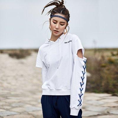 怪力少女寬松透氣跑步上衣運動長袖女冬連帽速干顯瘦休閑健身衛衣