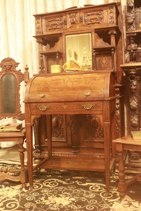 【家與收藏】稀有珍藏歐洲百年古董英國19世紀古典優雅Rosewood精緻手工inlaid鑲嵌仕女寫字桌/櫃