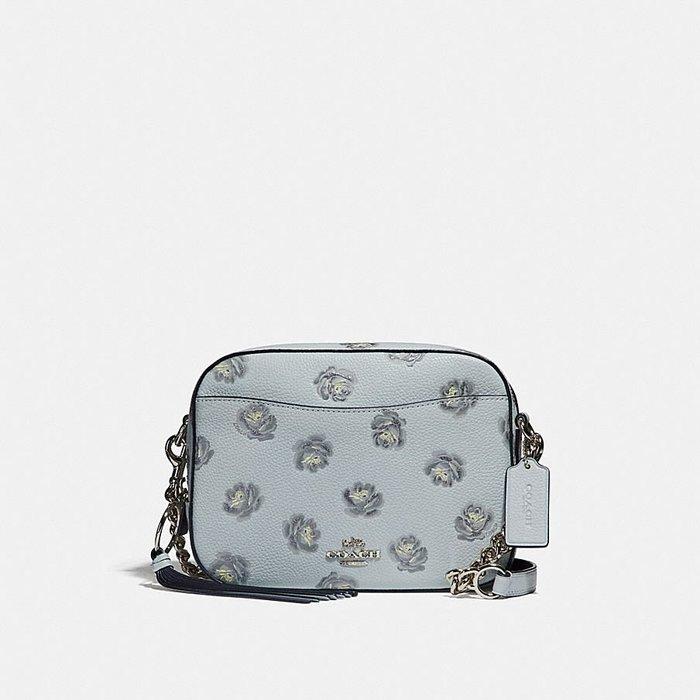Coco小舖 COACH 31712 Camera Bag With Rose Print 天藍色印花相機包