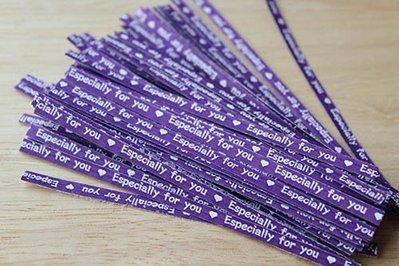 封口鐵絲(Especially For You_紫色)_1000入一組◎封口.鐵絲.特別.給你.紫色.白字