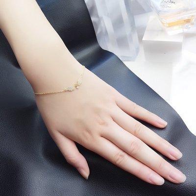 Lissom韓國代購~e 家懶人925銀一對翅膀手鍊鑲鉆日韓設計感ins風手飾朋友禮物潮流