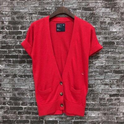 Maple麋鹿小舖 American Eagle * AE 紅色V領口袋短袖外套 * ( 現貨M號 )