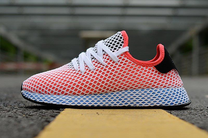 D-BOX  Adidas Deerupt Runner 網眼 慢跑鞋 輕便 跑步鞋 粉藍
