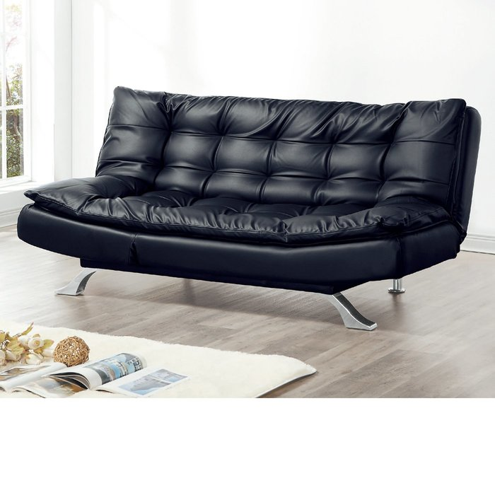 【在地人傢俱】19 樂樂購-3009B黑色皮3人/三人沙發床/沙發椅 JL95-3