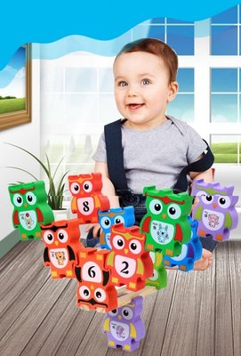 【晴晴百寶盒】木製貓頭鷹疊疊樂 益智遊戲 寶寶过家家玩具 角色扮演 親子互動 生日禮物 平價促銷 P106
