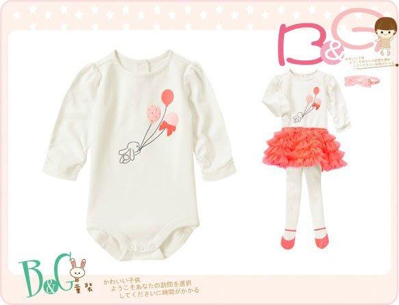 【B& G童裝】正品美國進口GYMBOREE Bunny Bodysuit 氣球圖樣長袖連身衣12-18mos