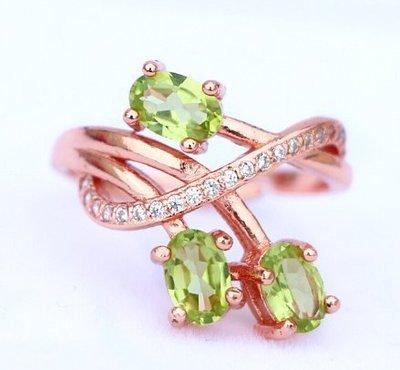 天然橄欖石戒指 925純鍍玫瑰金鑲嵌綠寶石