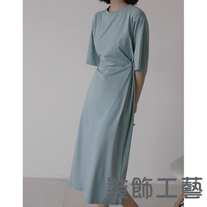【5色腰圍可調節】銅氨絲圓領可調節寬松長款針織T恤連衣裙