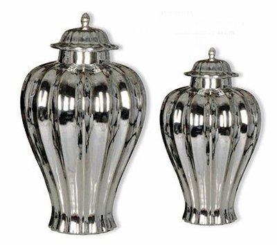 【 LondonEYE 】歐洲古堡,經典東西方鍍銀裝飾瓶/罐‧ 立體波浪華麗後現代/豪宅 (M) 頂蓋銀