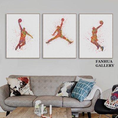 C - R - A - Z - Y - T - O - W - N NBA籃球明星掛畫水彩抽象創意籃球人物柯比喬丹裝飾畫
