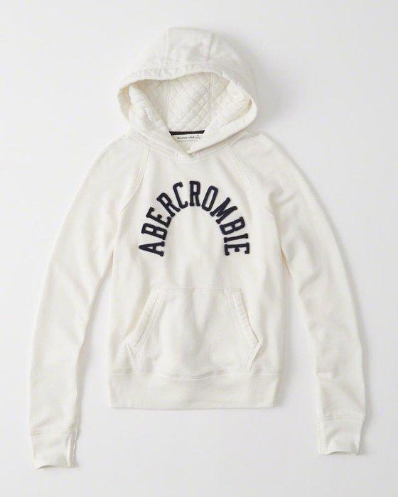 美國百分百【Abercrombie & Fitch】連帽 AF 帽T 麋鹿 長袖 logo 女 白色 S M號 H448