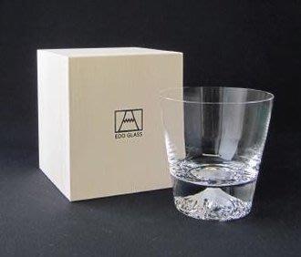 日本製 江戶硝子富士山杯 玻璃杯(附木...