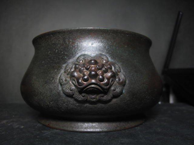 老銅爐 ◎  獅頭 銅香爐 【玉堂清玩 款】
