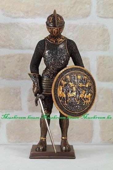 點點蘑菇屋{中古武士擺飾四}鐵甲武士 全身盔甲左手盾牌右手握劍 歐洲羅馬武士 現貨 免運