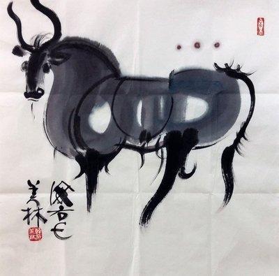 名人字畫~~手繪韓美林 國畫12生肖 牛 贈作者簡介原圖收藏
