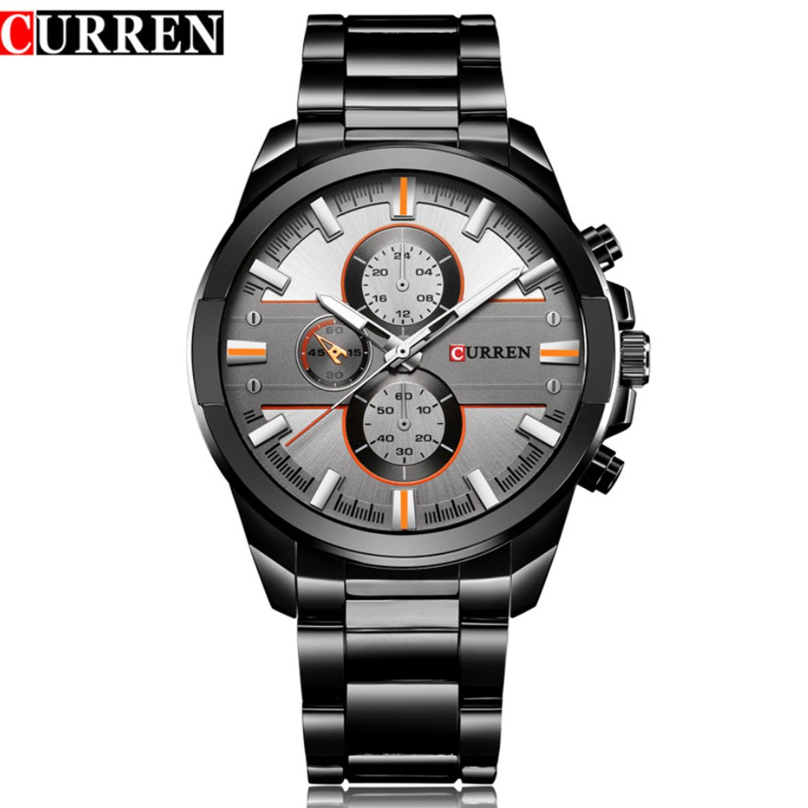 【潮鞋基地】CURREN /卡瑞恩男士鋼帶手錶男錶時尚運動休閒腕錶男8274