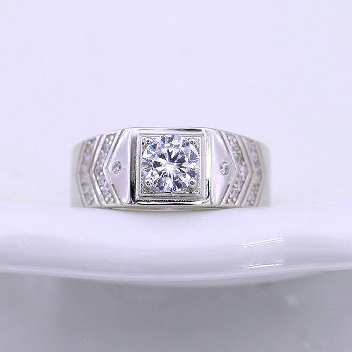 日韓時尚白金男款菱形鋯石水鑽可調式開口戒指情人節禮物生日禮物