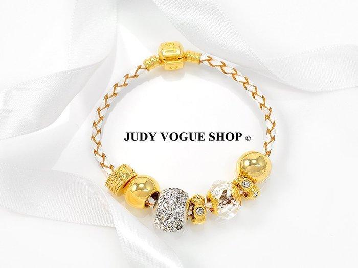 潘朵拉元素手鍊 韓國 白色璀璨個性皮繩手鍊 璀璨鋯石 個性時尚 JUDY VOGUE SHOP【JBS-0013】