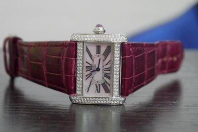 《和鑫名錶珠寶》卡地亞 Cartier Tank Divan 2599  原裝粉色貝殼面盤 錶殼精鑲鑽石