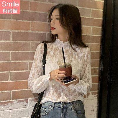 【V9238】SMILE-好感甜搭.洋氣半高領蕾絲網紗內搭長袖上衣