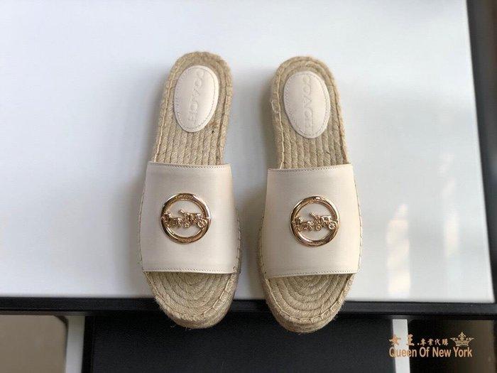 【紐約女王代購】COACH 寇馳 2020新款 拖鞋 五金屬馬車LOGO 休閒鞋1 時尚精品 美國連線代購