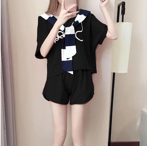 安琪兒╭韓國夏季新品 寬鬆休閒套裝 印花T恤 衛衣 學生運動服三件式【Y1478】S~XL短袖上衣+短褲(送披肩)
