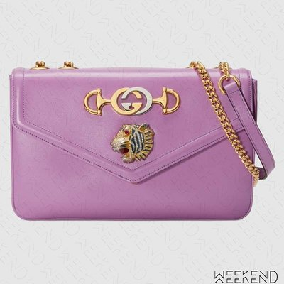 【WEEKEND】 GUCCI Medium Rajah 中款 雙背帶 手拿包 肩背包 紫色 19春夏 537241
