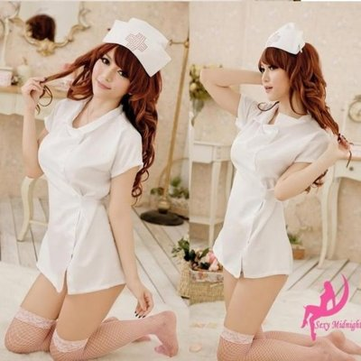1215(附網襪)白色四件套 白衣天使套裝護士側綁帶吊襪帶網襪 俏護士浪漫情人節禮物 角色制服 COS 死庫水